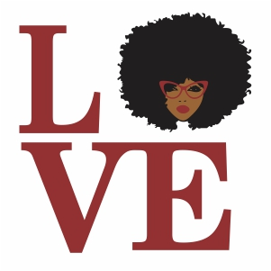 Afro girl love svg cut file