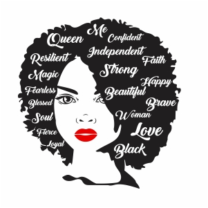 Afro woman Strong Svg