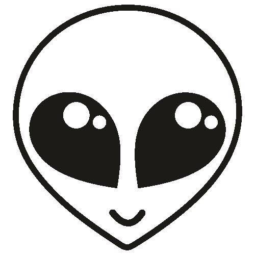 Alien Face SVG Black