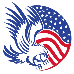 American Flag Round Eagle svg cut file