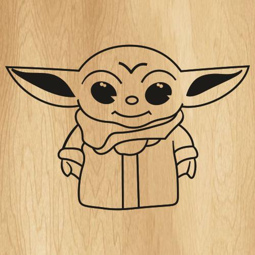 Baby Yoda Black Svg