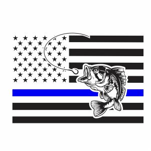 Thin Blue Line Fishing Flag Svg