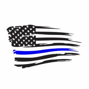 Thin Blue Line Distressed Flag Svg