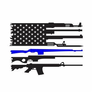Back The Blue Gun Flag Vector
