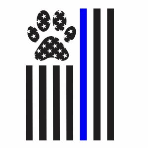 Thin Blue Line Paw Print Svg