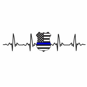 Back The Blue Badge Heart Beat Svg