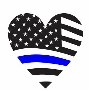 Thin Blue Line Heart Flag Svg