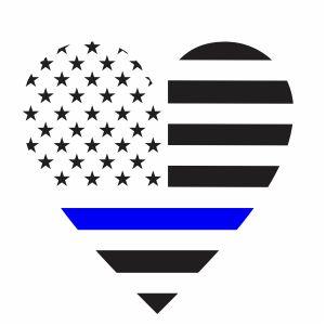 Back The Blue Heart Flag Svg