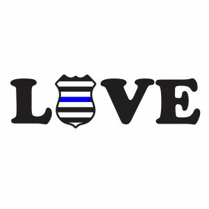 Thin Blue LIne Love Badge Svg