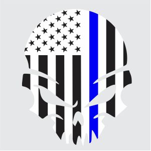 Thin Blue Line Punisher Skull Svg
