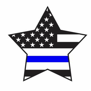 Thin Blue Line Star Flag Svg
