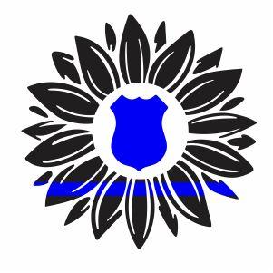 Thin Blue Line Sunflower Vector