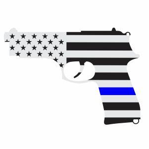 Back The Blue Pistol Flag Vector