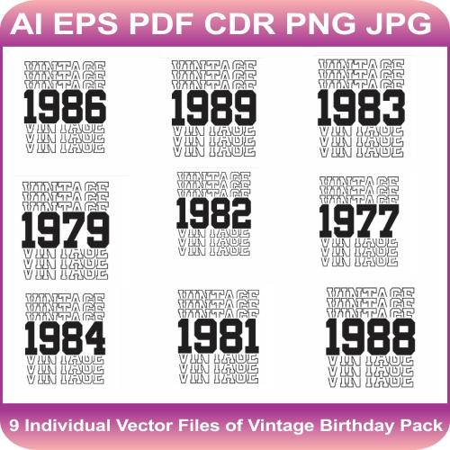Vintage Birthday Vector Bundle