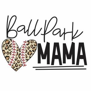 Ballpark Mama Heart vector file