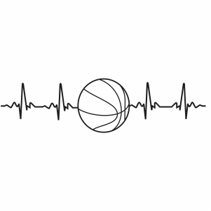 Basketball Heartbeat Silhouette