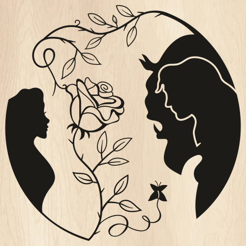 Beauty and The Beast Rose Svg