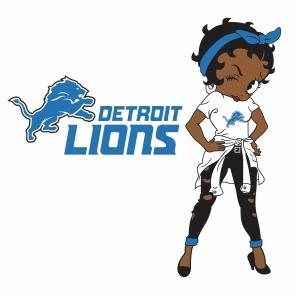 Betty Boop Detroit Lions vector
