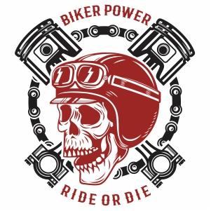 Biker power ride or die human skull Vector