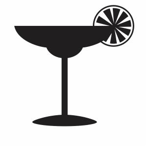 Black Martini Glass Lemon svg file