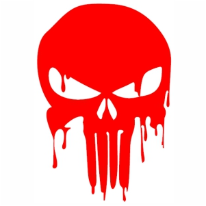 Bloody Red Punisher Skull svg cut