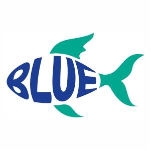 Stylish Blue fish shape svg