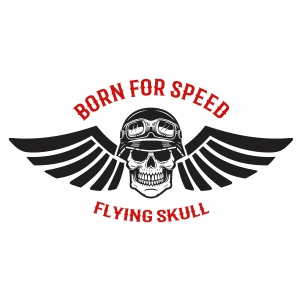 Born For Speed Flying Skull Svg