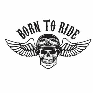 Born to ride human skull in winged Helmet Svg