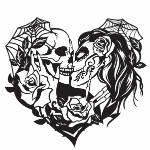 kissing skull svg