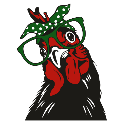 Hen With Bandana Glasses Svg
