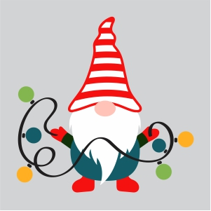 Gnome holding Lights Svg