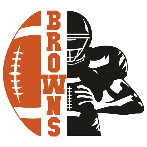 Cleveland Browns Distressed Football Half Player Svg