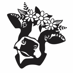 Cow With Flowers Svg