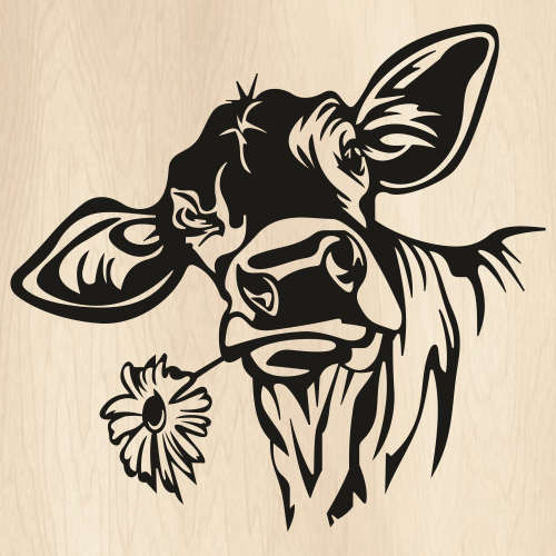 Cow With Flower Svg