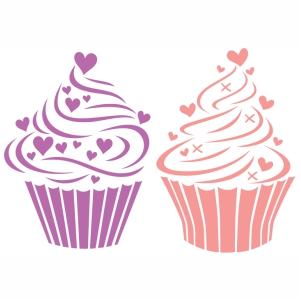 Cupcake Hearts Love vector