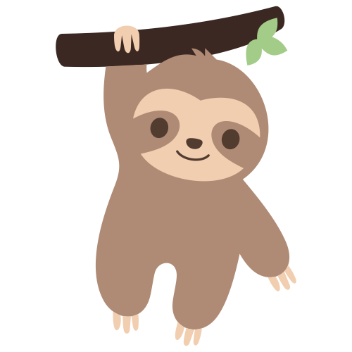 Sloth Hanging On Tree Branch Svg