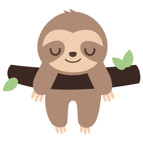 Sloth Sleeping On Tree Branch Svg