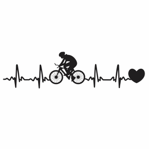 Cyclist Heartbeat with Heart Svg