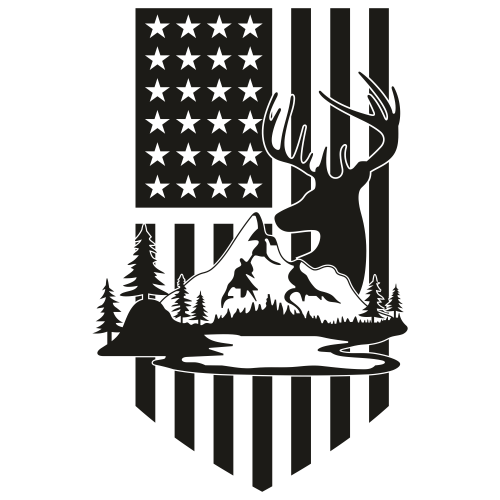 Deer Hunting USA Flag Svg