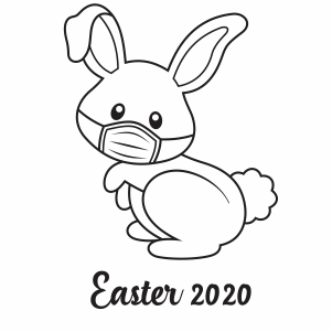 Easter Bunny with Mask 2020  vector file