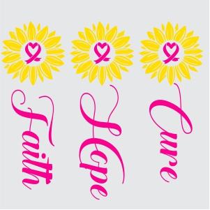 Faith Hope Cure Flower Svg