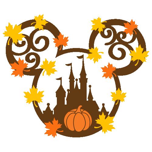 Mickey Castle Autumn Svg