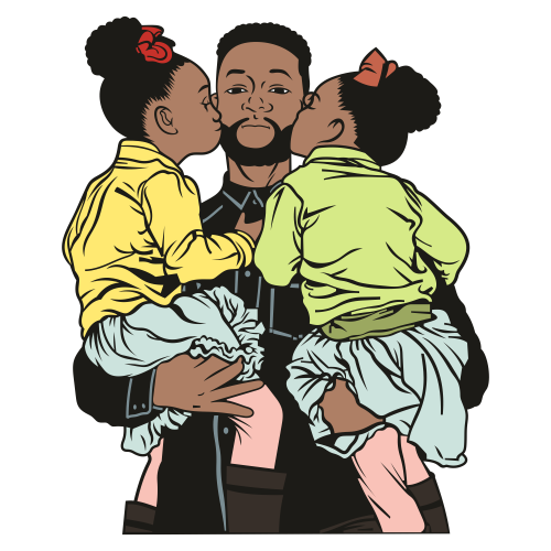 Father With Children Svg
