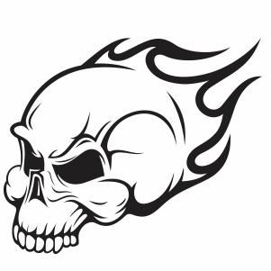 fire skull drawing svg