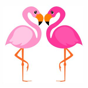 two Flamingo Bird svg cut