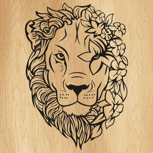 Floral Boho Wild Lion SVG