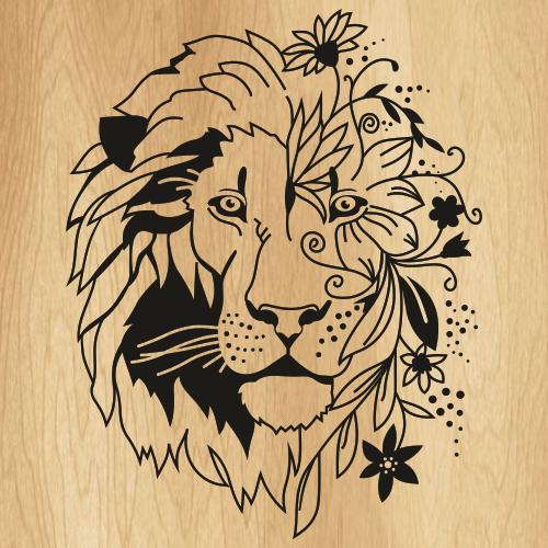 Floral Boho Lion Svg