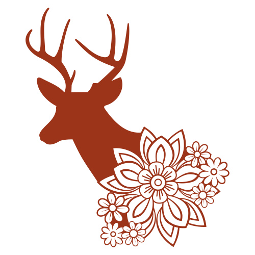 Deer With Floral Svg