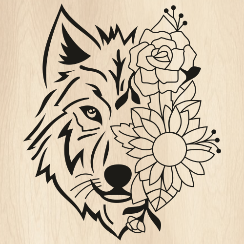 Floral Wolf Face Svg