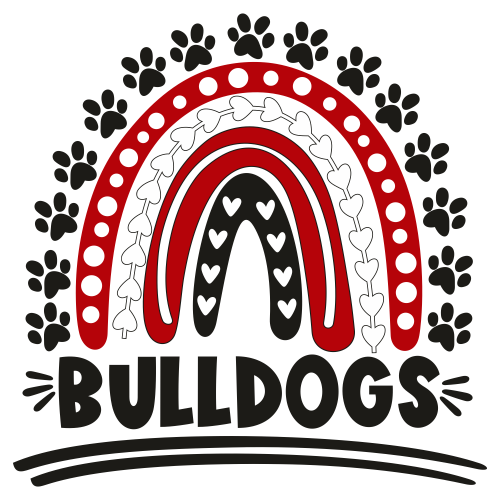 Football BullDogs Rainbow Paw Svg